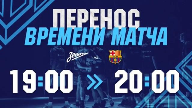 Zenit-Barcellona: la palla a due slitta di un'ora