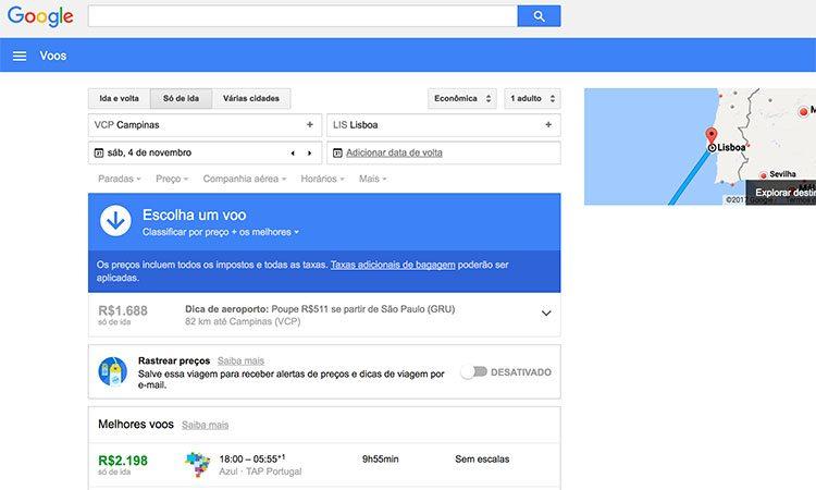Ferramenta Google Flights