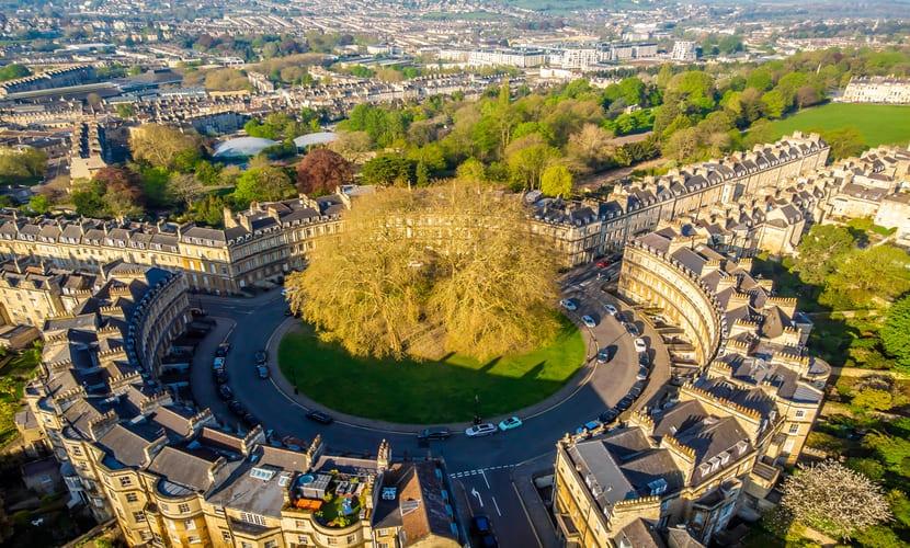 Vista aérea da cidade de Bath