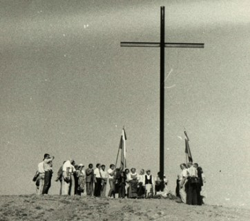 Erection of the cross in memory of the victims of the 1954 GULAG uprising in Kengir, Kazakhstan, 1990