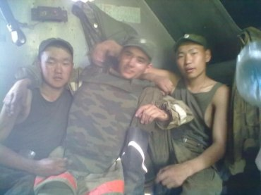 Gritsyuk with other soldiers in Kazakhstan
