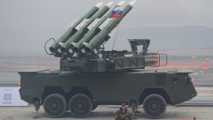 """Russian """"Buk"""" surface-to-air missile system at  an arms show. The Dutch National Detective Force said there was conclusive evidence that a missile from the Russian-made Buk 9M38 missile system downed the MH17 passenger flight on July 17, 2014, killing all 298 people on board."""