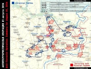 Die Situation in den östlichen Regionen der Ukraine 1. August 2014