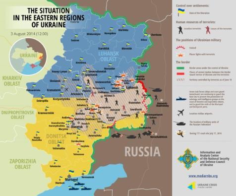 Die Situation in den östlichen Regionen der Ukraine 3. August 2014