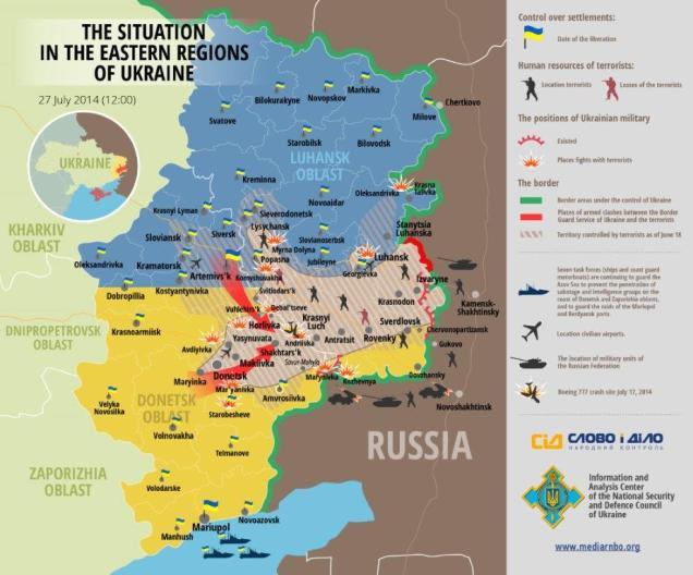 Die Situation in den östlichen Regionen der Ukraine 27. Juli 2014