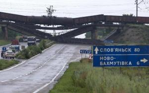 Russian terrorists are deliberately destroying the infrastructure of the Donbas. Destroyed railway bridge over the road Sloviansk-Donetsk-Mariupol