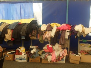 Donations of clothes and shoes delivered by volunteers