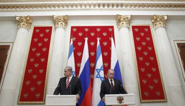 Russian President Vladimir Putin (R) and Israel's Prime Minister Benjamin Netanyahu take part in a joint news conference in Moscow's Kremlin, Nov. 20, 2013 Read more: http://www.al-monitor.com/pulse/originals/2014/04/israel-russia-strategic-ties-ukraine.html##ixzz3EnYuQbuF