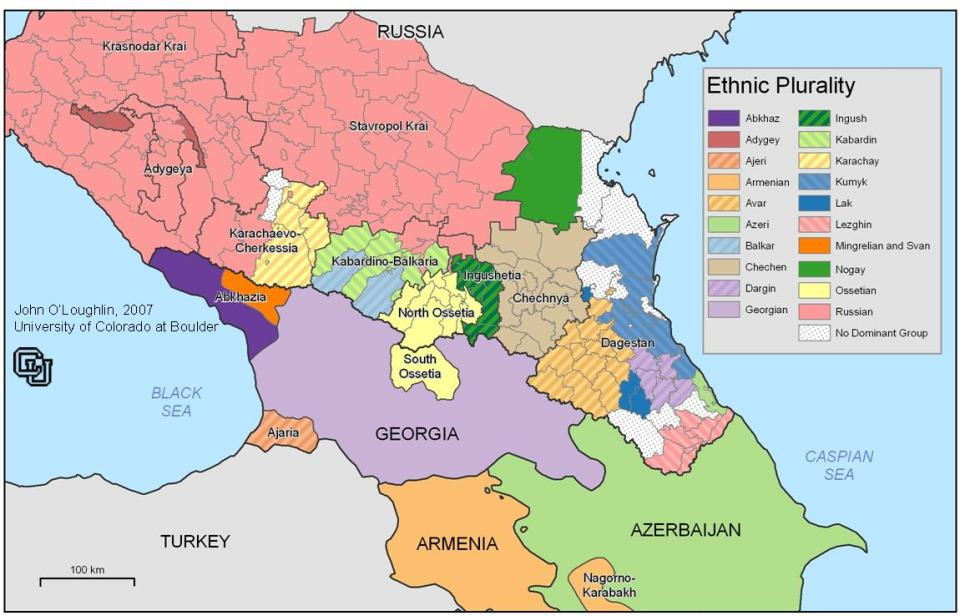 The ethnic makeup of Russia's Caucasus region and other former Soviet states