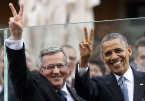 Die Präsidenten von Polen und den Vereinigten Staaten - Bronislaw Komorowski und Barack Obama