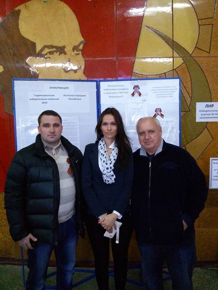 "Adrienn Szaniszló (in the centre) at the ""polling station"" in the Rostov region, Russia, 2 November 2014"