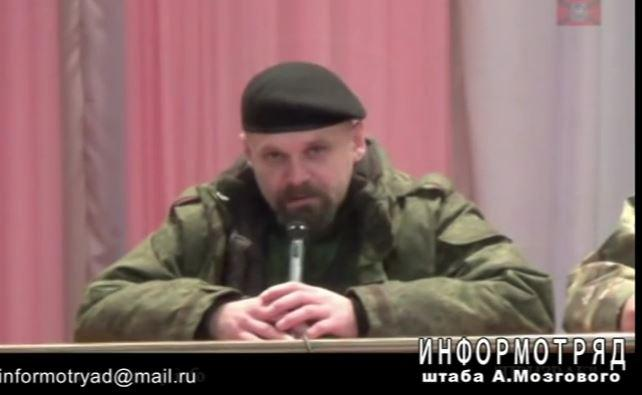 "Aleksei Mozgovoi, terrorist commander of the Prizrak (Ghost) mechanazed brigade as one of the judges in the first ""Peoples' Court"" of Novorosiya"