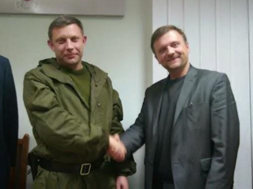 Der Anführer der DNR-Terroristen, Alexander Sachartschenko und Mateusz Piskorski, am 1. November 2014 in Donezk