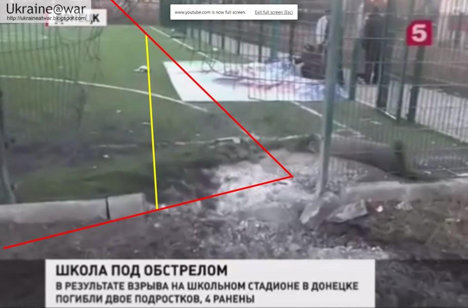 Dieser Screenshot zeigt, wo das Geschoss auf der Erde einschlug und danach explodierte. Die Rakete explodierte erst nach dem Einschlag, weil der rechte Teil des Drahtzauns neben dem Explosionsort nicht verbogen wurde.