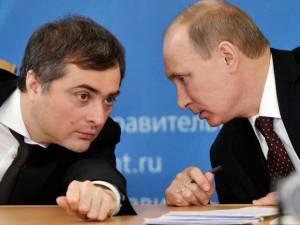 Vladimir Putin with one of his top propagandists and his point man for Ukraine Vladislav Surkov