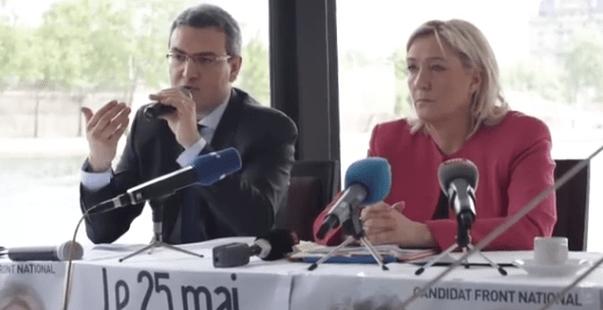 Aymeric Chauprade während der Vorstellung der Präsidentschaftskandidatur durch Marine Le Pen am 24. April