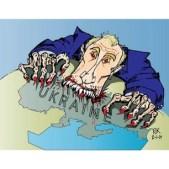 Political cartoon: Putin attacking Ukraine