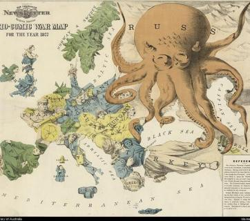 """Serio-comic"" map of Europe during the Russo-Turkish War 1877"