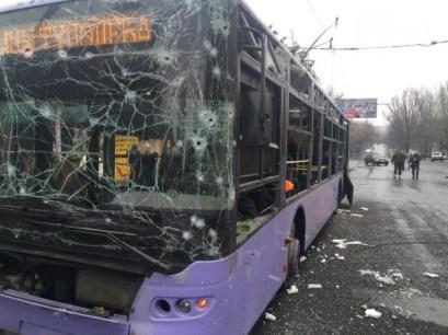 Mortar attack by Russian terrorists in Donetsk, Ukraine