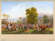"Dance of Tartars (1856), painting by Carlo Bossoli, a part of his Crimean travel collection published as an album of lithographs titled ""The Beautiful Scenery And Chief Places Of Interest Throughout The Crimea"""