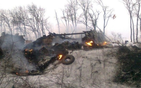 Devastation from the Russian invasion in Donbas, Ukraine