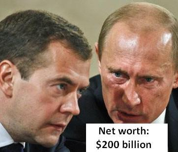 Putin and Medvedev. Expert estimated Putin's net worth at $200 billion, (CNN)