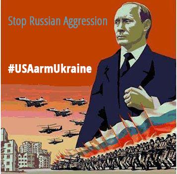 Political cartoon: Stop Russian Aggression. #USAarmUkraine against Putin