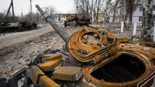 A destroyed tank in the Donbas, Ukraine