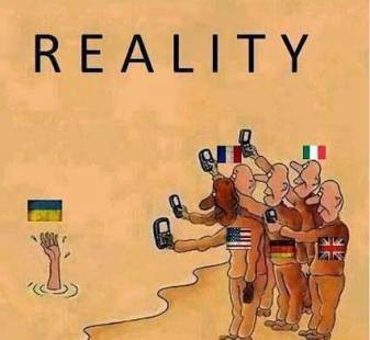 """Political cartoon """"Reality"""": World leaders taking pictures of drowning Ukraine"""