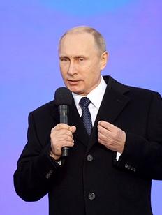 Putin celebrating 1st anniversary of Crimea Anschluss, 2015