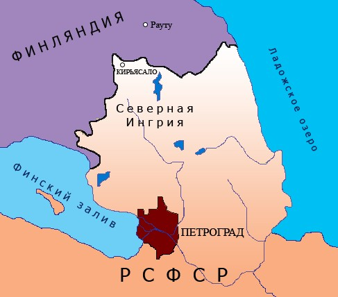 The Republic of North Ingria (1919-1920) between the border with Finland and the City of Petrograd (St. Petersburg)