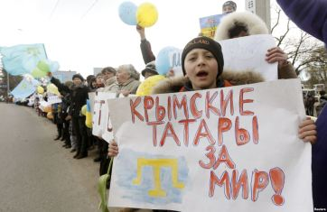 """""""Crimean Tatars want peace"""" - Crimeans protest against Russian occupation, March 2014"""