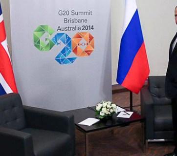 Putin at the G20 Summit in Brisbane, Australia in 2014