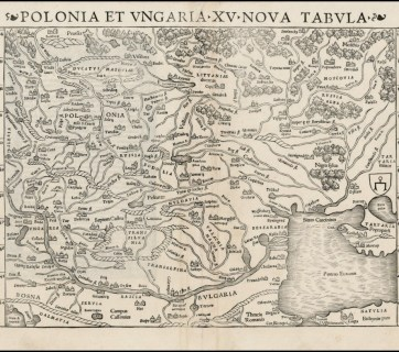 """Map of Poland and Hungary by Sebastian Munster, 1550. The map shows """"Russia"""" for Ukraine, """"Russia Alba"""" for Belarus, while the Moscow Princedom is called """"Moscovia."""" (Source: karty.by)"""