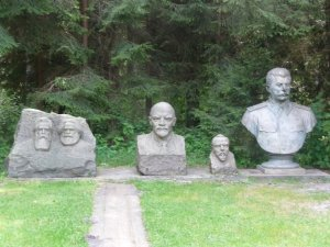 Some Soviet sculptures at Gruto Park: Engels, Marx, Lenin, Kapsukas and Stalin (Image: DELFI / I.Saukienės)