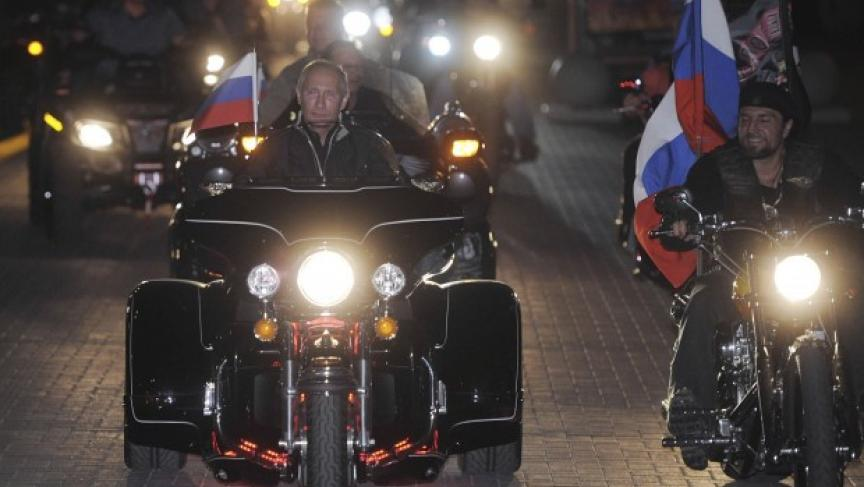 Vladimir Putin riding with the Night Wolves