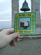"""The Bell of Chersonesos in Sevastopol, Crimea, Ukraine with a sign reading """"There was, is, and only be Kyivan Rus"""" in Ukrainian. The picture was taken in early 2015 while the city is still under the Russian occupation (Image credit: Anonymous author)"""