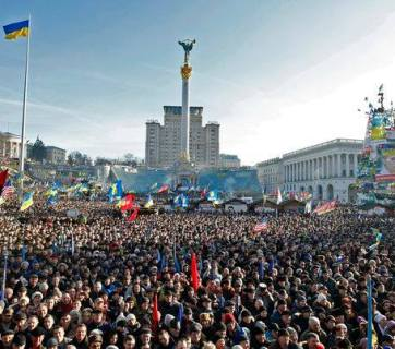 Protests against the criminal and oppressive regime of Yanukovich during the Revolution of Dignity, winter 2014, on Kyiv's Maidan Nezalezhnosti square.