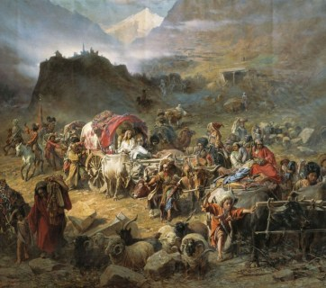 """Highlanders Leaving Their Village"" by Petr Gruzinsky shows the deportation by the Russian Empire of Circassians, the indigenous peoples of North Caucasus from their homeland at the end of the Russo-Circassian War. Russia started the expulsion before the end of the war in 1864 and mostly completed it by 1867. The peoples exiled were mainly the Circassians (Adyghe), Ubykhs, Abkhaz, and Abaza. (Image: Wikimedia)"