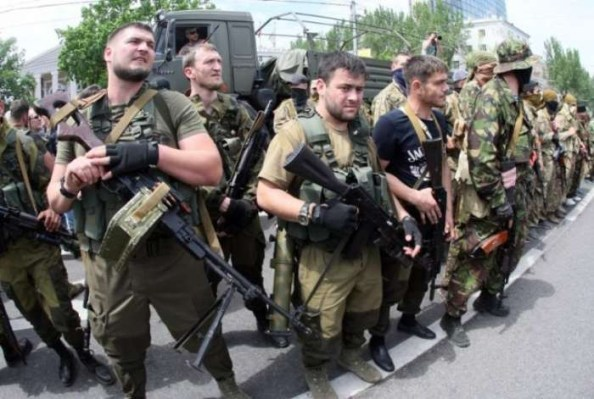 The Russian Federation have been using ethnically non-Russian troops for its aggression in Ukraine. Russian Federation servicemen from Chechnia arriving to fight in the Donbas in 2014 (Image: AFP)