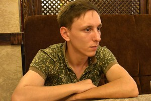 "Alexander Yenenko being interviewed by journalists of the Russian newspaper Gazeta.ru. Alexander is a Russian professional soldier who is criminally charged for desertion for refusing to enlist into ""volunteer"" Russian military force in the Donbas (Image: Gazeta.ru)"