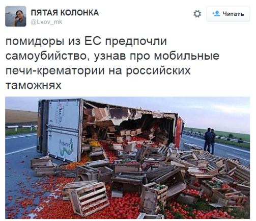 """The tweet says: """"After they found out about mobile crematoria-ovens at Russian customs, the tomatoes from EU preferred suicide."""" (Image: social media)"""
