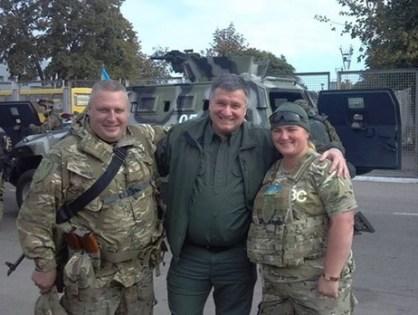 Battalion commander Yangolenko, seen here with Ukraine's Minister of Interior Arsen Avakov in March 2015.
