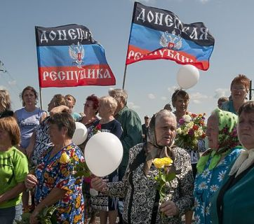 "The ""DNR"" meetings normally feature mostly older people who still remember and long for the USSR (Image: AP)"