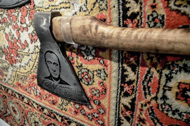 "A depiction of Vladimir Putin at Vasiliy Slonov's ""The Vatniks of the Apocalypses"" exhibition in Moscow, Russia, October 2015 (Image: Pelagiya Belyakova, Novaya Gazeta)"