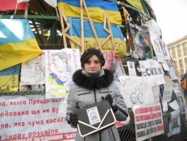 Marina protesting at Kyiv's Maidan square