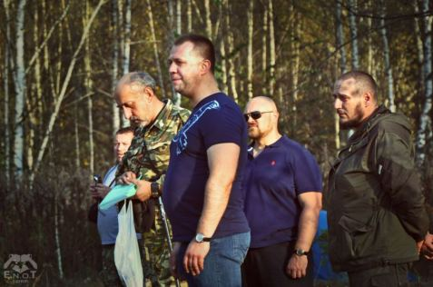 Aleksandr Boroday (center), one of the organizers and and a former top official of the Russian occupation of the eastern Ukraine, visited the mercenary training camp in Chernogolovka and took numerous photographs with its participants. Moscow oblast, Russia, September 2015 (Image: ENOT Corp)