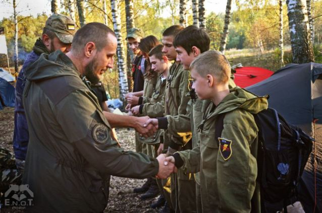 School age children at a mercenary training camp for Russia's war in Ukraine. Moscow oblast, Russia, September 2015 (Image: ENOT Corp.)