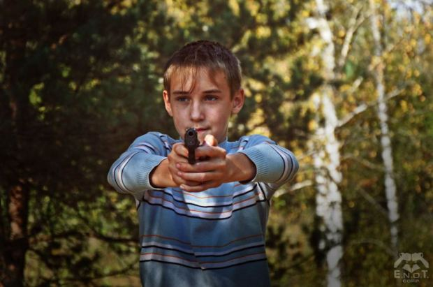 A school age child at a mercenary training camp for Russia's war in Ukraine. Moscow oblast, Russia, September 2015 (Image: ENOT Corp.)