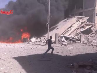The aftermath of air strikes by a Russian plane in Tabliseh, Syria, on 30 September 2015 YouTube (Image: independent.co.uk)
